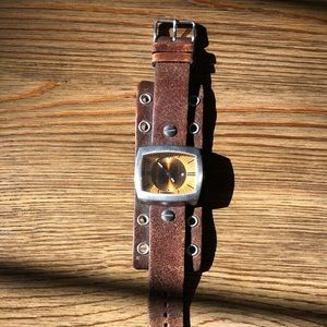 Fossil-Vintage-Brown genuine leather watch